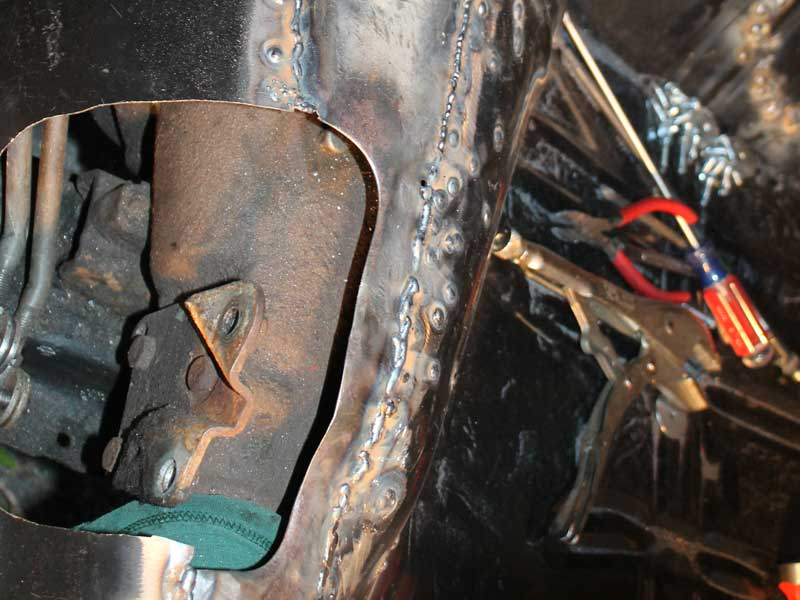 Welding in a new floor in a 1972 Pontiac LeMans